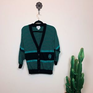 Sweaters - Striped cardigan with embroidery